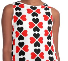Black Red Hearts Contrast Tank