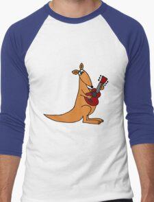 Cool Funky Kangaroo Playing Guitar Men's Baseball ¾ T-Shirt