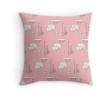 safari - pink Throw Pillow