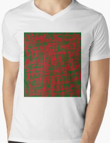 Red and green design by Moma Mens V-Neck T-Shirt