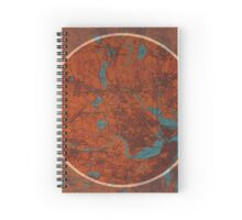 Boston old map and quote Spiral Notebook