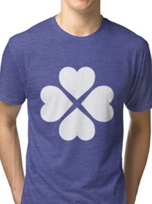 White Heart Flower Tri-blend T-Shirt