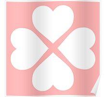 White Heart Flower Poster