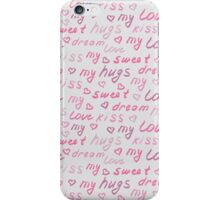 Love lettering seamless pink pattern iPhone Case/Skin