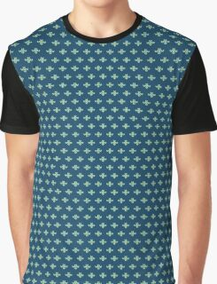 simple seamless knitting blue flower pattern Graphic T-Shirt