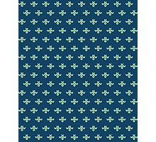 simple seamless knitting blue flower pattern Photographic Print
