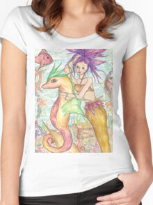 The Mermaid and the Seahorse Women's Fitted Scoop T-Shirt