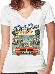 Outrun Women's Fitted V-Neck T-Shirt