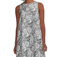 Bicycle Paisley Black and White A-Line Dress
