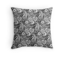Bicycle Paisley Black and White Throw Pillow
