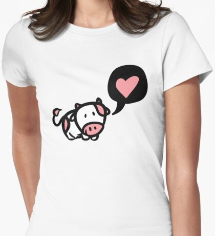 Cow in love Womens Fitted T-Shirt