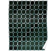 Pattern 007 Metal Honeycomb Green Octogon Poster