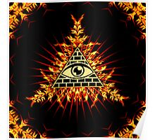 All Seeing Eye Of God, Flames - Symbol Omniscience Poster