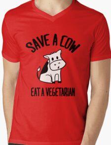 Save a cow, eat a vegetarian Mens V-Neck T-Shirt
