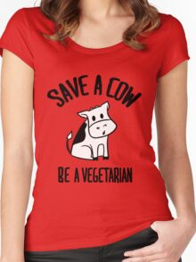 Save a cow, be a vegetarian Women's Fitted Scoop T-Shirt
