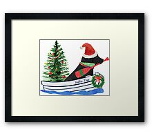 Nautical Preppy Black Lab Aboard The Christmas Salty Dog Framed Print