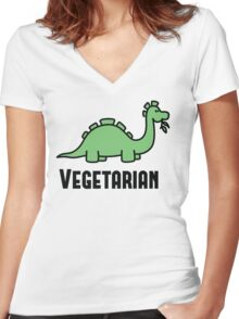 Vegetarian Women's Fitted V-Neck T-Shirt
