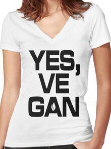 Yes, vegan! Women's Fitted V-Neck T-Shirt
