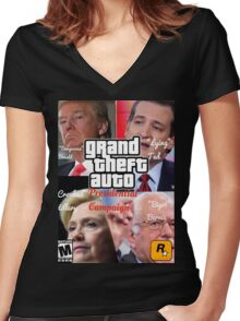 Grand Theft Auto: Presidential Candidates Women's Fitted V-Neck T-Shirt