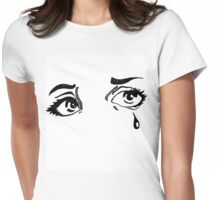 Hand Drawn Pop Art Eyes in Ink Womens Fitted T-Shirt