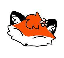 Flower Fox Face Photographic Print