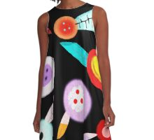 Black Funny Huge Poppies A-Line Dress