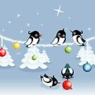 Funny Xmas Card - Birds and Bubbles in Snow by ruxique