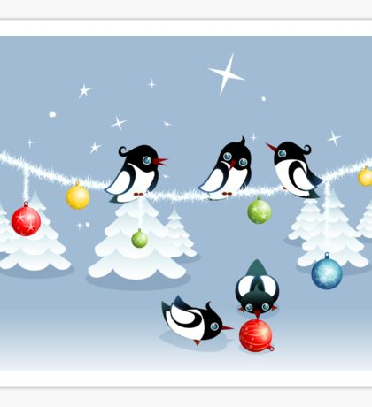 Funny Xmas Card - Birds and Bubbles in Snow Sticker