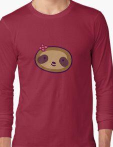 Flower Sloth Face Long Sleeve T-Shirt