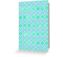 Moroccan Aqua Doodle pattern in mint green, blue & white Greeting Card