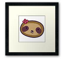 Flower Sloth Face Framed Print