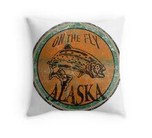 Alaska on the fly logo Throw Pillow
