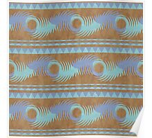 Summer Camp Wallet - Teal Brown Blue Abstract Pattern Poster