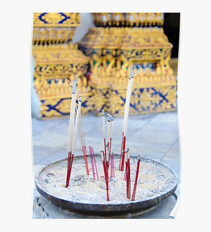 Bowl with joss sticks Poster
