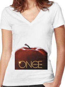 Once upon a time apple Women's Fitted V-Neck T-Shirt