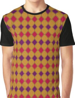 Gold Purple and Coral Harlequin Graphic T-Shirt