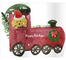 Watercolor Christmas Train Preppy Yellow Lab Dog Poster