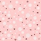 Holiday Snowflakes Hearts on Pink by ruxique