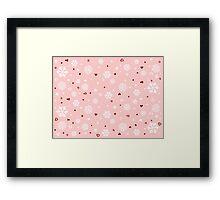 Holiday Snowflakes Hearts on Pink Framed Print
