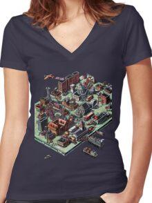 Computer Landscape Women's Fitted V-Neck T-Shirt