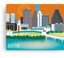 Austin, Texas Illustrated Skyline by Loose Petals Canvas Print