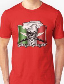 Italian Winking Chef Skull: Mangia! Mangia! T-Shirt