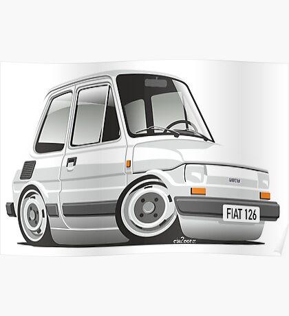 Fiat 126 caricature white Poster
