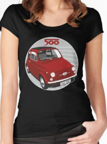 Fiat 500F red Women's Fitted Scoop T-Shirt