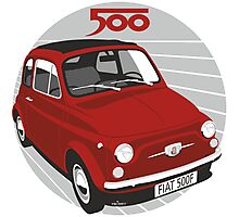 Fiat 500F red Photographic Print