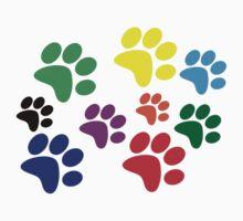 Colored Dog Paws. Kids Tee