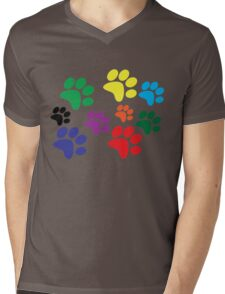 Colored Dog Paws. Mens V-Neck T-Shirt