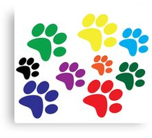 Colored Dog Paws. Canvas Print