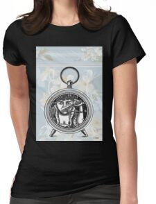 Blue Floral Steampunk Lady Clock Womens Fitted T-Shirt