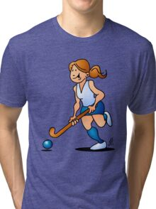 Field hockey girl Tri-blend T-Shirt